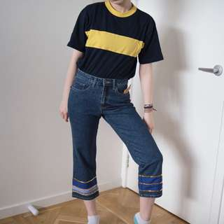 Vintage Mum Jeans with floral and blue fabric and gold sequin detailing