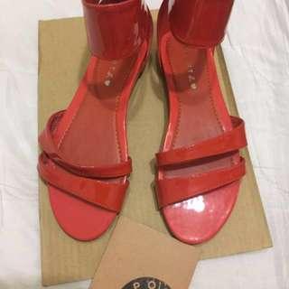 全新專櫃正品sport B Agnes B品牌真皮漆皮涼鞋