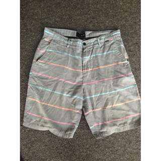 Grey with pink, orange and blue stripes - Hurley - size 34