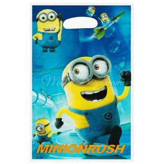 Minion Rush Party favor bags, Goody bags, Plastic loot bags 10pcs