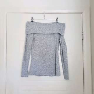 Forever New Off the Shoulder Knit Top - Grey Size XS