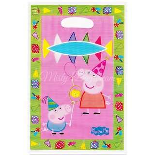 Peppa Pig Party favor bags, Goody bags, Plastic loot bags 10pcs
