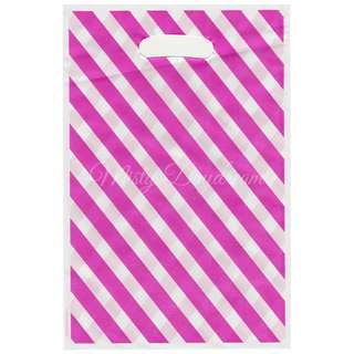 Striped Pink Party Wedding favor bags, Goody bags, Plastic loot bags 10pcs