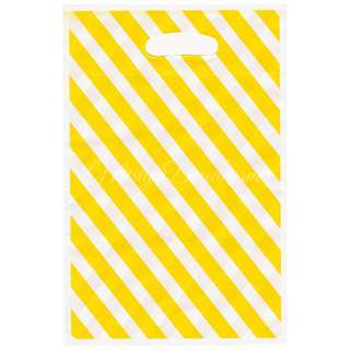 Striped Yellow Party Wedding favor bags, Goody bags, Plastic loot bags 10pcs
