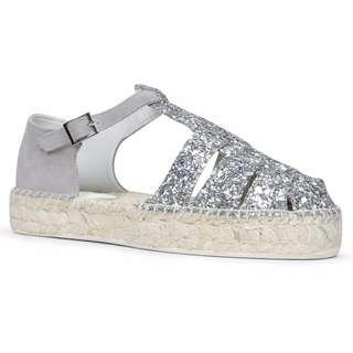 ALDO亮晶晶銀蔥草蓆厚底涼鞋 夏日必備soludos類似款