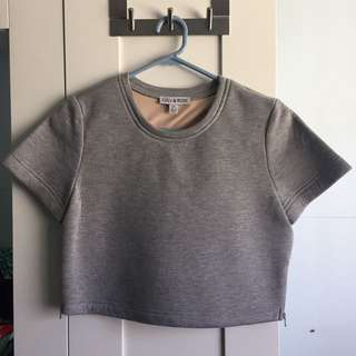 Grey Neoprene Crop Tee