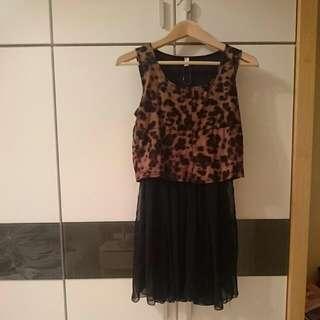 豹紋雪紡紗洋裝