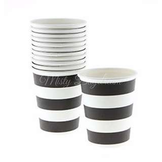 Party Cups Classic Stripe Black Wedding Cups