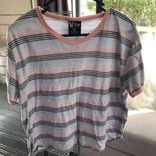Pink & Grey Striped Crop tee