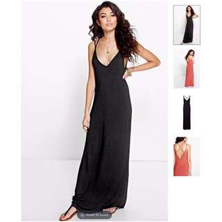 BOOHOO Cross Back Strappy Maxi Dress (Black)