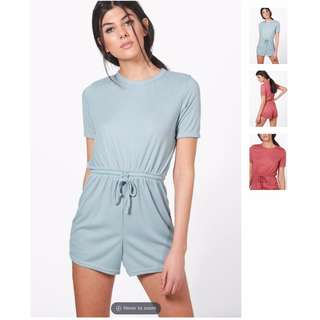 BOOHOO Knitted Lounge Playsuit (Light Blue AND Black)