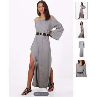 BOOHOO Off Shoulder Dress with Flared Sleeves (Grey)