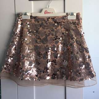 Sweet Pot Rose Gold Sequin Skirt