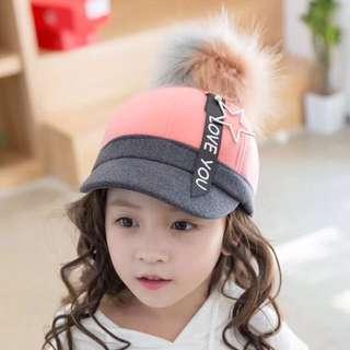 🚚 QF090 日系兔毛球 時尚 五星飄帶 兒童棒球帽 保暖毛呢帽