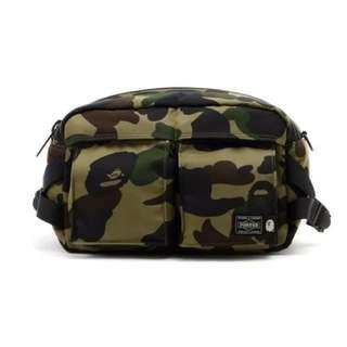 Bape x Porter 1st Camo Waist Bag (Green)
