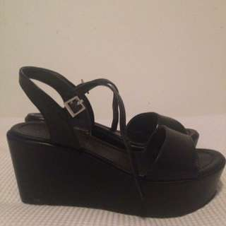 City Classified Black Wedge Heels