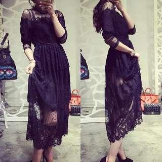 🎀韓版長袖鏤空顯瘦蕾絲中長款洋裝