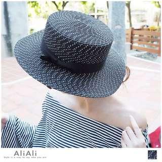 歐美黑白混色蝴蝶結編織圓帽/草帽/遮陽帽/禮帽