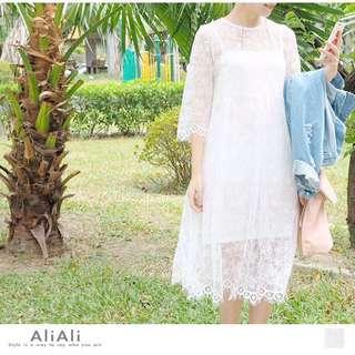 清新蕾絲雕花洋裝/七分袖洋裝/婚禮洋裝/寬鬆洋裝