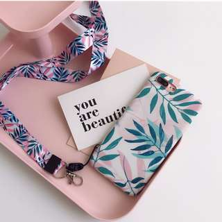 Instocks Brand New Sweet Pastel Arsty Floral Mobile Phone Cover with Detachable Lanyard Apple IPhone 6 6S Plus 7 7+ 8 8Plus + (Florals leaf leaves hand handphone hp case casing cover skinny*dip fenty gucci par amour chanel coco tumblr girly sweet green lv
