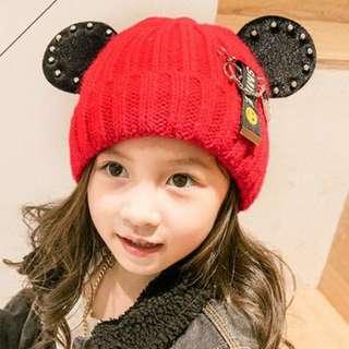 🚚 QF093米奇耳朵鉚釘針織毛線帽 加絨保暖護耳帽 別針套頭帽