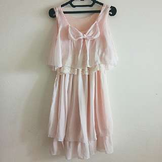 SALE AKHIR TAHUN - BOW LACE LACEY PITA RENDA PINK DRESS With DEFECT