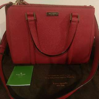 Authentic Kate Spade Red Leather Loden Ctossbody Tote