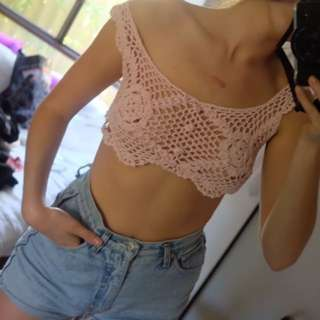 Vintage Baby Pink Cropped Crochet Top