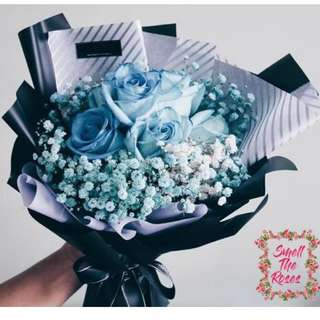 """You're my princess"" Royal Blue Roses with Baby Breath Designer Glam Bouquet + FREE DELIVERY"