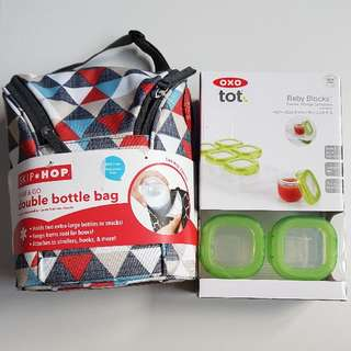 Skip*Hop Skiphop Grab & Go Double Bottle Bag Triangles Brand New With Tag. Brand New OXO Tot Baby Blocks Freezer Storage Containers 60ml X 6 Pieces. Selling As A Set.