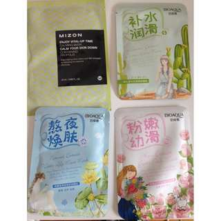 4x Korean Beauty Sheet Facial Masks + Bonus Freebie