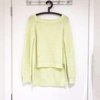 MOSSMAN Lime Green Chunky Knit Jumper