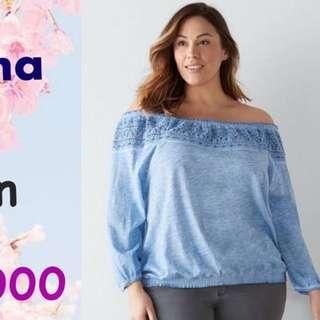 Blue Crochet Off Shoulder Big Size