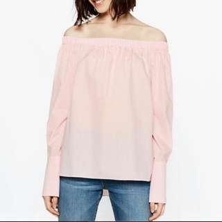 Zara Off Shoulder Poplin Shirt
