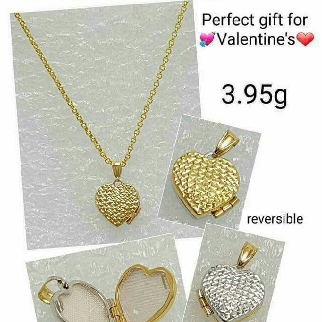 18k Saudi Gold Necklace w Locket Pendant