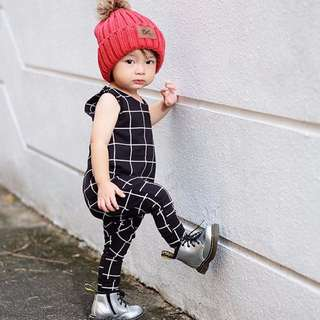 🌟INSTOCK🌟 Black Grid Sleeveless Romper PJ Romper Top for Baby Toddler Boy and Girl Children Kids Clothing