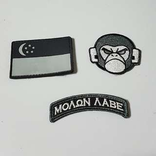 Morale patch Velcro MSM, SINGAPORE, MOLON LABE badges