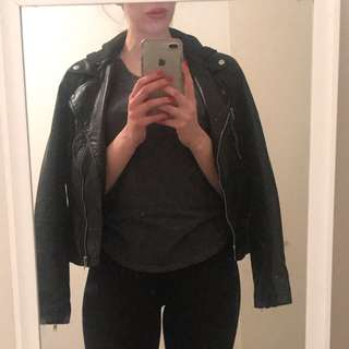 Black leather jacket with hoodie