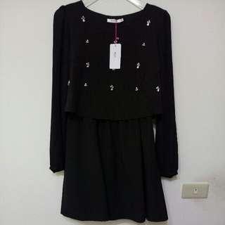 🚚 『少女專櫃H2O全新黑色長袖碎鑽雪紡紗洋裝』