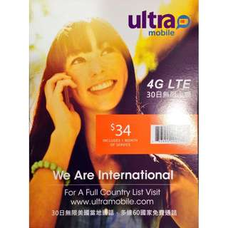 USA Sim Card, 30 Days Unlimited Data & Talk to 60+ Destinations