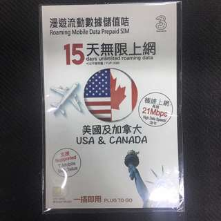 Data SIM 15 Days in USA & Canada, Unlimited 3G / 4G lte