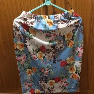 Flowery Midi Skirt