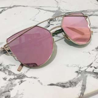 Rose Gold And Blush Reflective Sunglasses