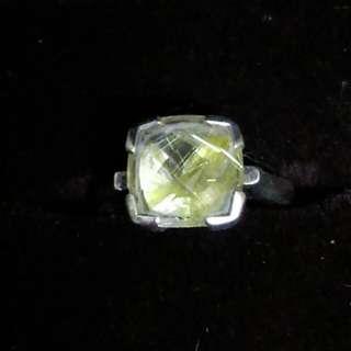 925純銀金髮晶戒指