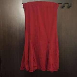 酒紅平口小洋裝