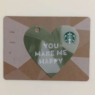 2015 Starbucks Heart Shaped Gift Card - YOU MAKE ME HAPPY in Germany