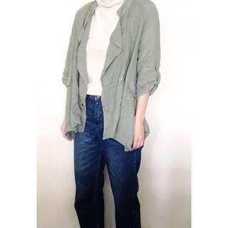 正韓 全新 麻料 灰綠 翻領 五分袖 罩衫 薄款