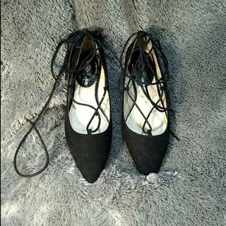 Cat Walk Ballerina Lace Up Shoes Black