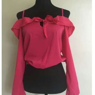 spaghetti strap long sleeve(pink color)