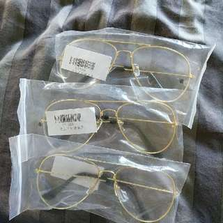 clear, gold frame glasses